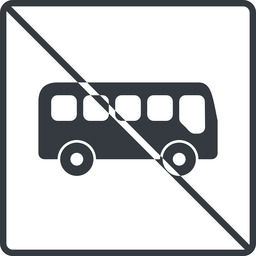 bus-side thin, line, wide, square, car, vehicle, transport, prohibited, bus, side, bus-side free icon 256x256 256x256px