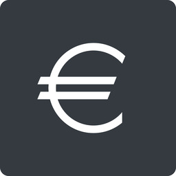 euro-symbol thin, solid, square, euro, symbol, money, donate, donation, euro-symbol, europe, coin free icon 256x256 256x256px