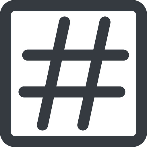 hashtag-wide line, wide, square, social, hashtag, hashtag-wide free icon 512x512 512x512px