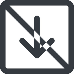 arrow-simple-wide line, down, square, arrow, direction, prohibited, arrow-simple-wide free icon 256x256 256x256px