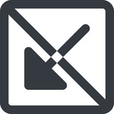 arrow-corner-solid line, down, wide, square, arrow, prohibited, corner, arrow-corner-solid free icon 128x128 128x128px