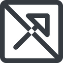 arrow-corner-wide line, up, wide, square, arrow, prohibited, corner, arrow-corner-wide free icon 128x128 128x128px