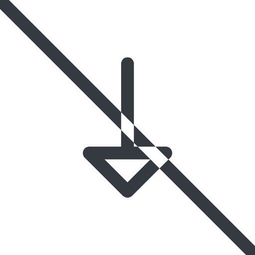 arrow line, down, normal, arrow, prohibited free icon 512x512 512x512px