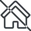 home line, normal, home, house, prohibited free icon 128x128 128x128px