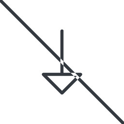 arrow-thin thin, line, down, arrow, prohibited, arrow-thin free icon 256x256 256x256px