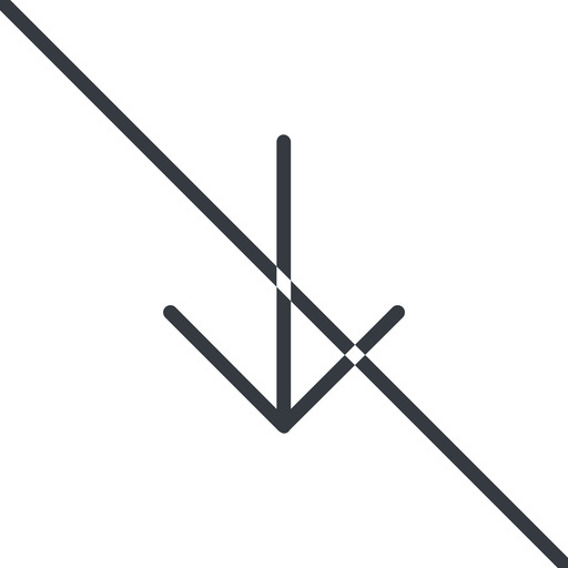 arrow-simple-thin thin, line, down, arrow, direction, prohibited, arrow-simple-thin free icon 512x512 512x512px