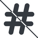 hashtag-solid thin, line, solid, social, prohibited, hashtag, hashtag-solid free icon 128x128 128x128px
