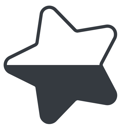 star-half-thin thin, left, solid, star, rate, rating, half, star-half-thin free icon 512x512 512x512px