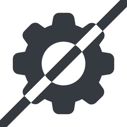 setting-solid line, wide, horizontal, mirror, setting, config, gear, wheel, settings, cog, prohibited, setting-solid free icon 256x256 256x256px