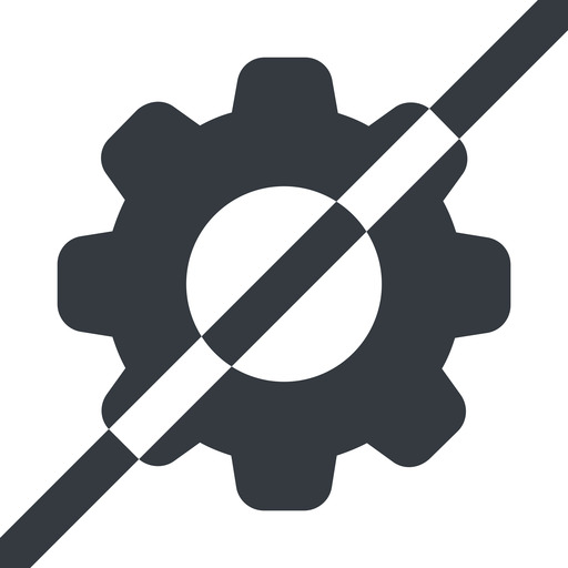 setting-solid line, wide, horizontal, mirror, setting, config, gear, wheel, settings, cog, prohibited, setting-solid free icon 512x512 512x512px
