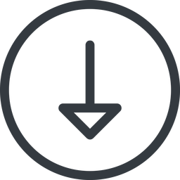 arrow line, down, normal, circle, arrow free icon 256x256 256x256px