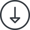 arrow line, down, normal, circle, arrow free icon 128x128 128x128px