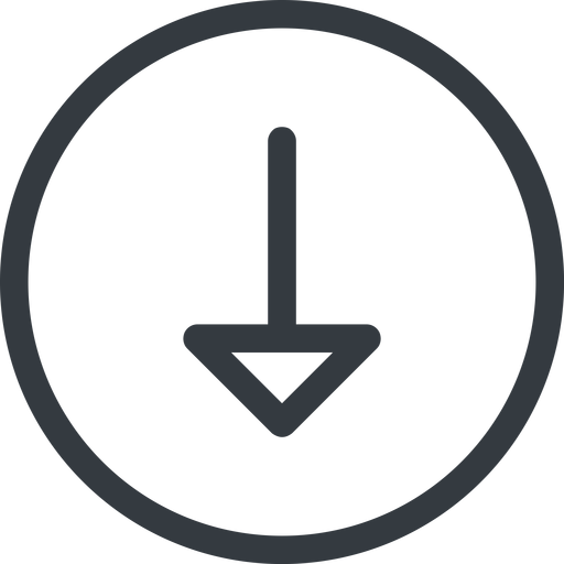 arrow line, down, normal, circle, arrow free icon 512x512 512x512px