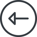 arrow line, left, normal, circle, arrow free icon 128x128 128x128px