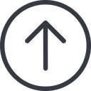 arrow-simple line, up, circle, arrow, direction, arrow-simple free icon 128x128 128x128px