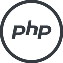 php line, normal, circle, logo, brand, php, hypertext, preprocessor free icon 128x128 128x128px