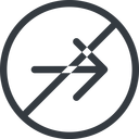 arrow-simple line, right, circle, arrow, direction, prohibited, arrow-simple free icon 128x128 128x128px