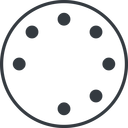 spinner-thin line, down, circle, spinner, spin, wait, load, loading, spinner-thin, loader free icon 128x128 128x128px