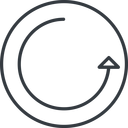 undo-thin thin, line, right, circle, arrow, reload, refresh, undo, redo, undo-thin, restore free icon 128x128 128x128px