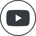 youtube thin, line, circle, logo, brand, social, youtube, video, channel, youtuber free icon 128x128 128x128px