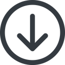 arrow-simple-wide line, down, circle, arrow, direction, arrow-simple-wide free icon 128x128 128x128px