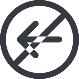 arrow-simple-wide line, left, circle, arrow, direction, prohibited, arrow-simple-wide free icon 256x256 256x256px