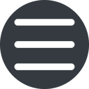 three-bars-wide up, wide, solid, circle, three, menu, collapse, bars, bar, expand, list, three-bars-wide, burger, hamburger free icon 128x128 128x128px