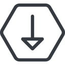 arrow line, down, normal, hexagon, arrow free icon 128x128 128x128px