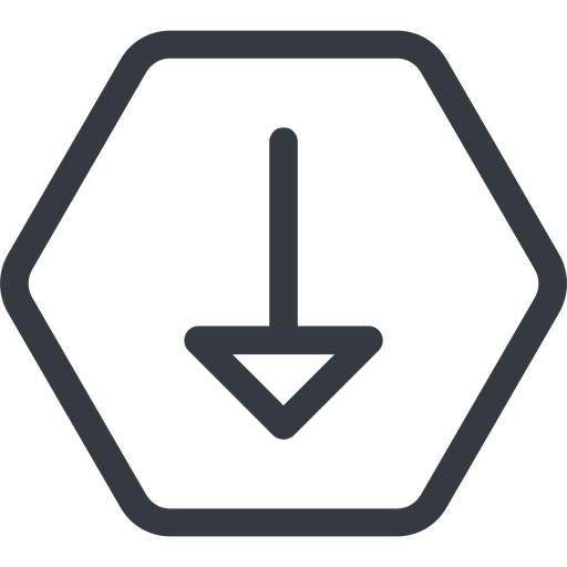 arrow line, down, normal, hexagon, arrow free icon 512x512 512x512px