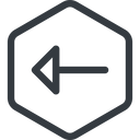 arrow line, left, normal, hexagon, arrow free icon 128x128 128x128px