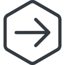 arrow-simple line, right, hexagon, arrow, direction, arrow-simple free icon 128x128 128x128px