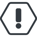 exclamation-mark line, normal, hexagon, mark, warning, exclamation, straight, info, exclamation-mark free icon 128x128 128x128px