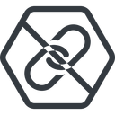 link line, hexagon, hypertext, prohibited, link, url, href, chain free icon 128x128 128x128px