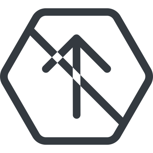 arrow-simple line, up, hexagon, arrow, direction, prohibited, arrow-simple free icon 512x512 512x512px