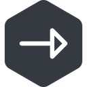 arrow right, normal, solid, hexagon, arrow free icon 128x128 128x128px