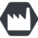 factory normal, solid, hexagon, factory, industry free icon 128x128 128x128px