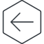 arrow-simple-thin thin, line, left, hexagon, arrow, direction, arrow-simple-thin free icon 64x64 64x64px