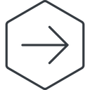 arrow-simple-thin thin, line, right, hexagon, arrow, direction, arrow-simple-thin free icon 128x128 128x128px