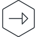 arrow-thin thin, line, right, hexagon, arrow, arrow-thin free icon 128x128 128x128px