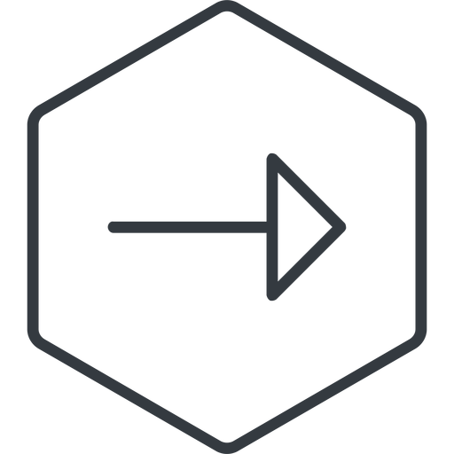 arrow-thin thin, line, right, hexagon, arrow, arrow-thin free icon 512x512 512x512px