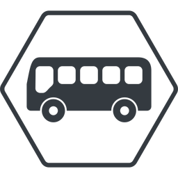bus-side thin, line, wide, hexagon, horizontal, mirror, car, vehicle, transport, bus, side, bus-side free icon 256x256 256x256px