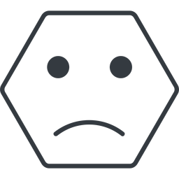 smiley-sad-thin thin, line, hexagon, smiley, emoji, sad, smiley-sad-thin free icon 256x256 256x256px
