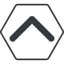 chevron-solid thin, line, up, hexagon, arrow, direction, chevron, chevron-solid free icon 128x128 128x128px