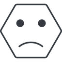 smiley-sad-thin thin, line, hexagon, smiley, emoji, sad, smiley-sad-thin free icon 128x128 128x128px
