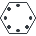 spinner-thin line, up, hexagon, spinner, spin, wait, load, loading, spinner-thin, loader free icon 128x128 128x128px