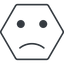 smiley-sad-thin thin, line, hexagon, smiley, emoji, sad, smiley-sad-thin free icon 64x64 64x64px