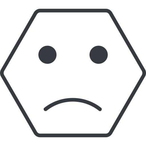 smiley-sad-thin thin, line, hexagon, smiley, emoji, sad, smiley-sad-thin free icon 512x512 512x512px