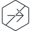 arrow-simple-thin thin, line, right, hexagon, arrow, direction, prohibited, arrow-simple-thin free icon 128x128 128x128px