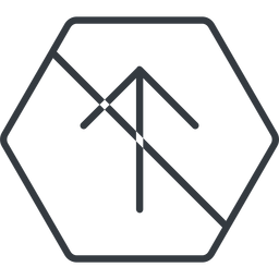 arrow-simple-thin thin, line, up, hexagon, arrow, direction, prohibited, arrow-simple-thin free icon 256x256 256x256px