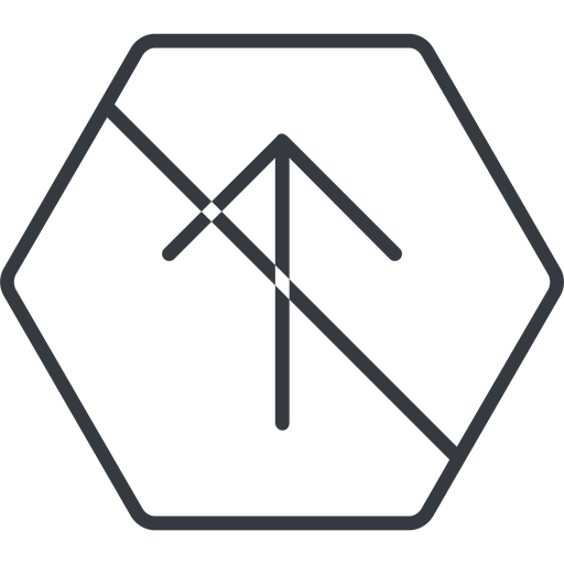 arrow-simple-thin thin, line, up, hexagon, arrow, direction, prohibited, arrow-simple-thin free icon 512x512 512x512px